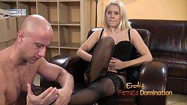 Mistress in lingerie humiliates...