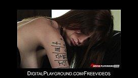 Stunning tattooed brunette has...