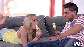 Blonde Hungarian teen Sicilia gives boyfriend ass licking before she cums