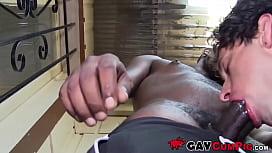 POV interracial blowjob with...