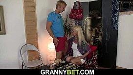 Blonde skinny granny gets...