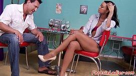Seductive footfetish babe enjoys...