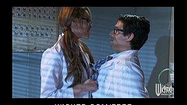 Slutty Asian redhead Jayden Lee rides her boss's dick at work