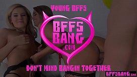 Teen BFFS surprised boyfriend with their wet pussies