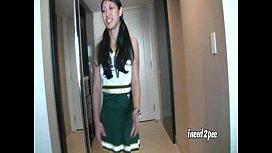 Tia Ling Cheerleader wetting...