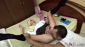 Ainara the naughty schoolgirl is fucked by her bad babysitter