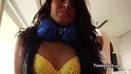 Shy latina tranny behind...
