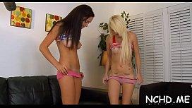 Horny teen gals go hardcore and get orgasmic pleasure