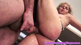 Grandma jizzed on hairypussy...