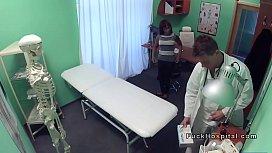Busty ebony patient sucks...