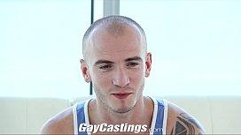 GayCastings Tatted muscle jock...