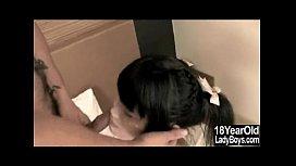 Cum Sprayed Teen Ladyboy...