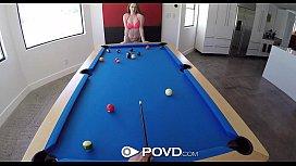 POVD - Karlie Brooks sucks her bf cock on pool table in pov