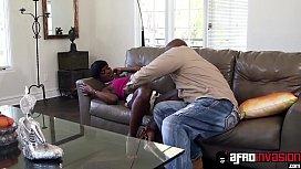 Pretty ebony babysitter puts...