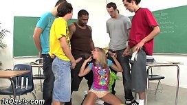 Teens face bukkake soaked...