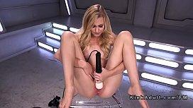 Petite blonde fucks machine solo