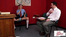 British schoolgirl voyeur instructs...