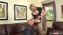 Busty blonde tranny Tyra...