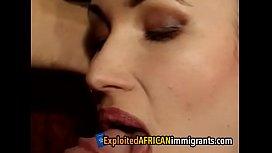 Busty ebony immigrant satisfies...