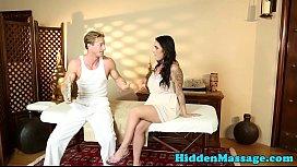 Busty massage babe screwed...