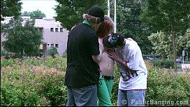 Teens PUBLIC threesome sex...