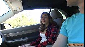 Sexy teen babe hitchhikes...
