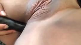 Black chick dildo fucks herself and licks it!
