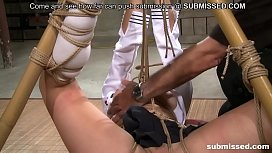 Asian slave is hogtied...
