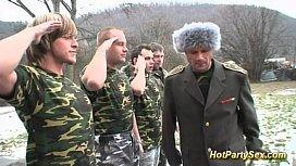 Military bukkake orgy...
