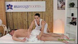 Brunette masseuse oiled fucking...