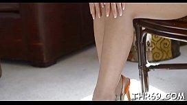 Gorgeous chick is sucking men third leg passionately
