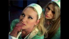 Blonde nurses in latex...