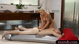 Busty milf masseuse gets...