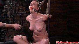 Tied up bondage sub...