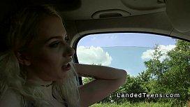 Busty blonde teen bangs...