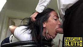 Sub bimbo throat fucked before severe doggystyle
