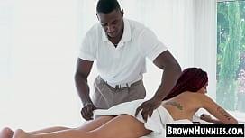 Alt ebony Julie Kay hammered with masseurs BBC after blowjob