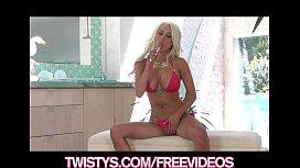 Busty blonde bikini babe...