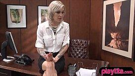 Sexy blonde secretary chick...