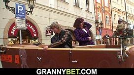 Old redhead granny tourist...
