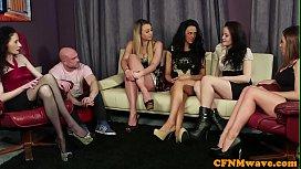 Gorgeous babes enjoy CFNM...