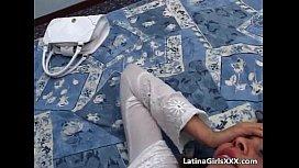 Attractive latina babe washes...