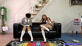 Stockinged milf spanking schoolgirls...