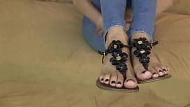 Cumshot on sexy feet...