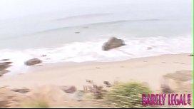 Teen Jesse Jordan doused in big dick cum by the sea