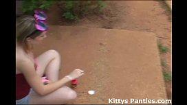 Kitty blowing bubbles in...