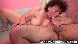 Chubby grandma enjoys his...