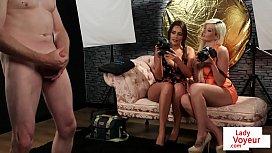 CFNM voyeur duo giving JOI during photoshoot