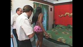 Ebony slut Angel Eyes gets pounded by foot fetish dude