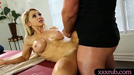 Big boobs blonde babe fucked by masseur